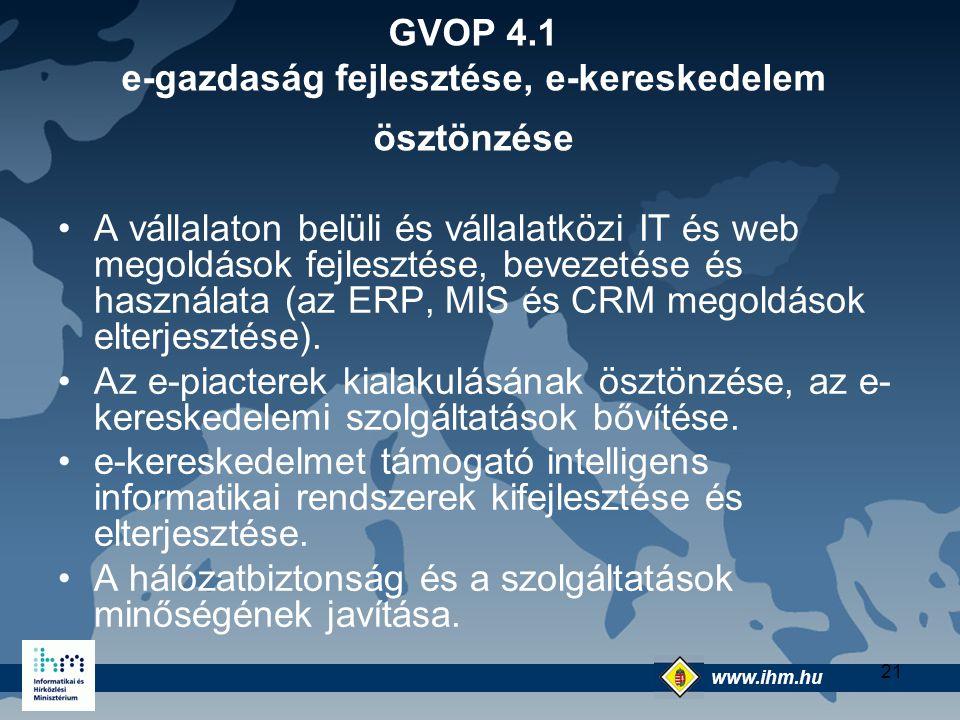 GVOP 4.1 e-gazdaság fejlesztése, e-kereskedelem ösztönzése