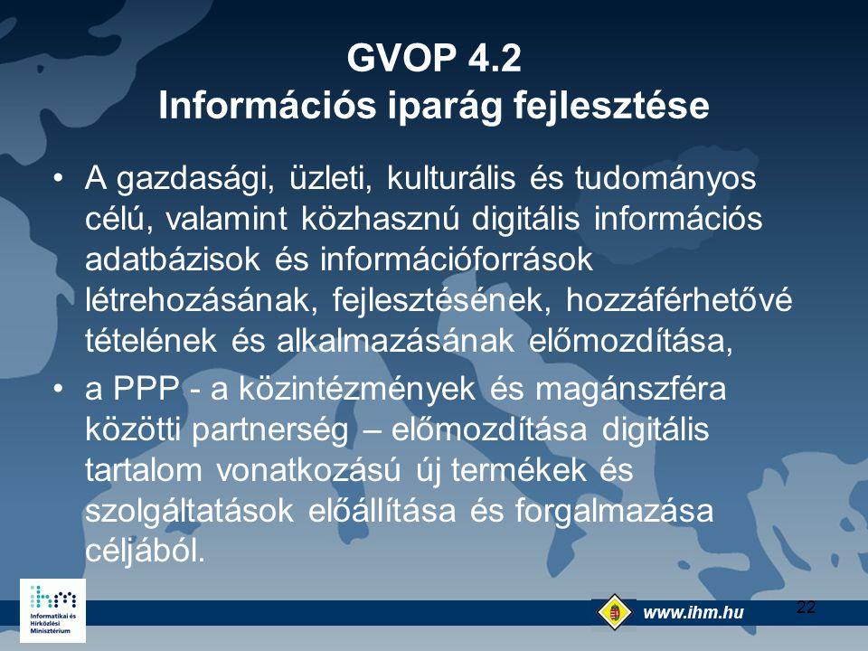 GVOP 4.2 Információs iparág fejlesztése