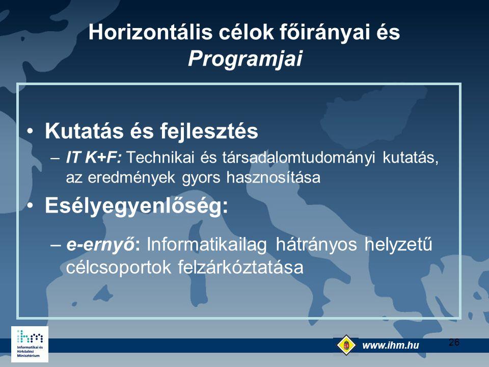 Horizontális célok főirányai és Programjai