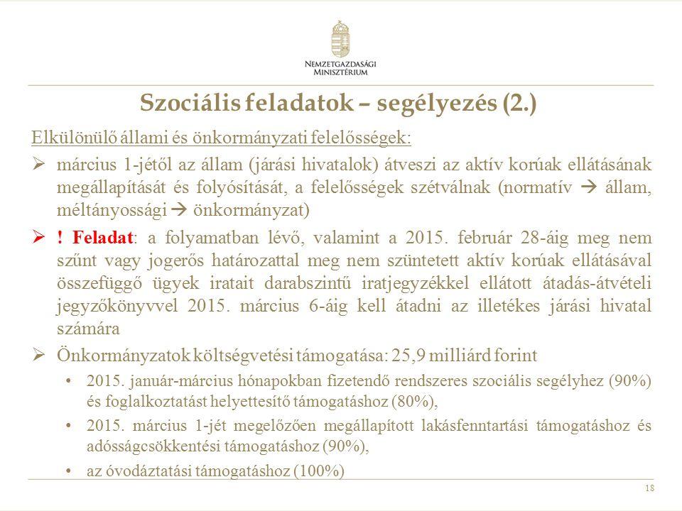 Szociális feladatok – segélyezés (2.)