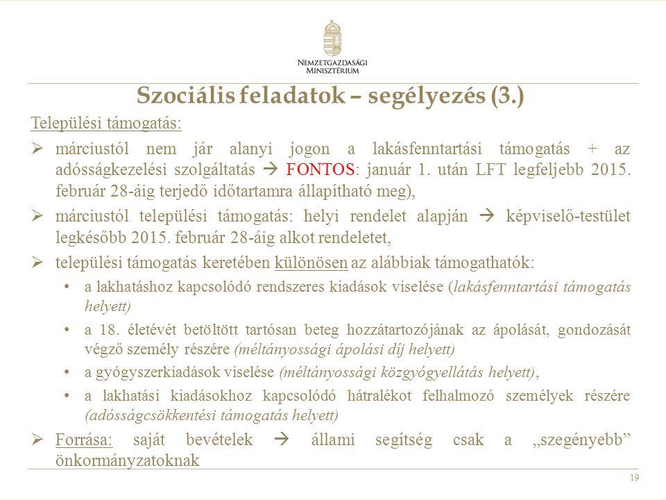 Szociális feladatok – segélyezés (3.)