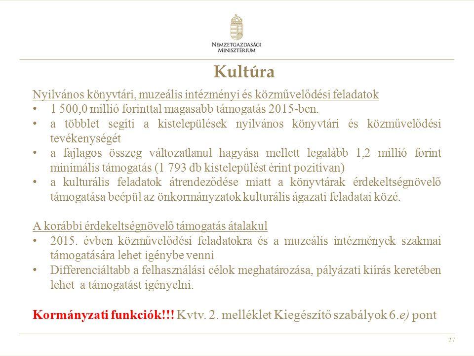 Kultúra Nyilvános könyvtári, muzeális intézményi és közművelődési feladatok. 1 500,0 millió forinttal magasabb támogatás 2015-ben.