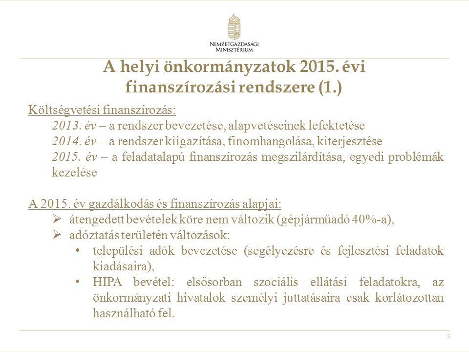A helyi önkormányzatok 2015. évi finanszírozási rendszere (1.)