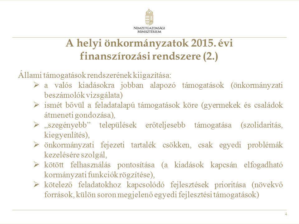 A helyi önkormányzatok 2015. évi finanszírozási rendszere (2.)