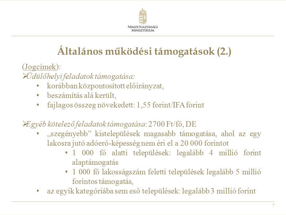 Általános működési támogatások (2.)