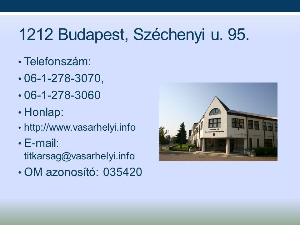 1212 Budapest, Széchenyi u. 95. Telefonszám: 06-1-278-3070,