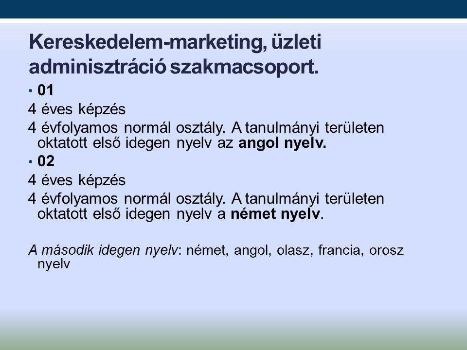 Kereskedelem-marketing, üzleti adminisztráció szakmacsoport.