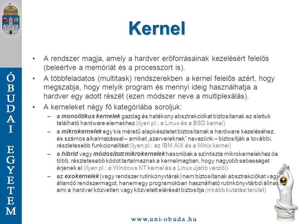 Kernel A rendszer magja, amely a hardver erőforrásainak kezelésért felelős (beleértve a memóriát és a processzort is).