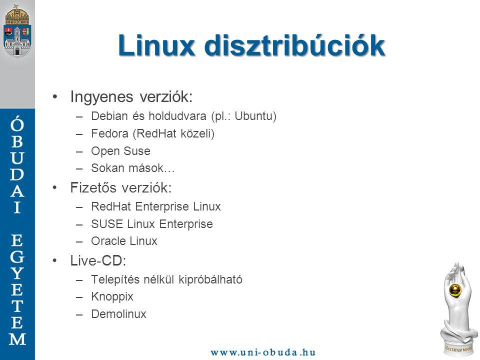 Linux disztribúciók Ingyenes verziók: Fizetős verziók: Live-CD: