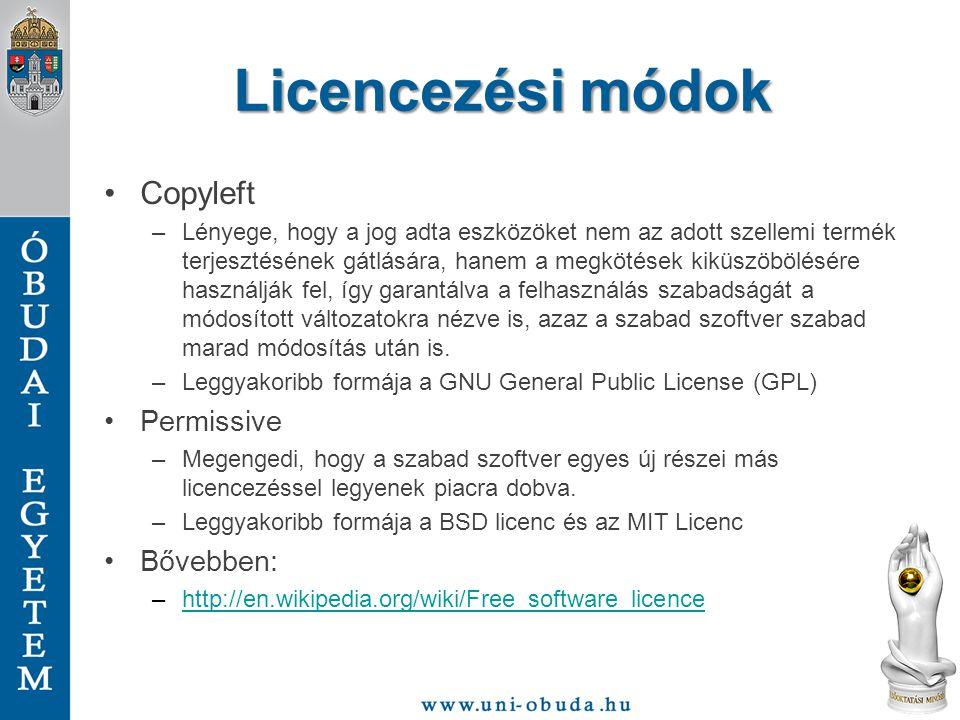Licencezési módok Copyleft Permissive Bővebben: