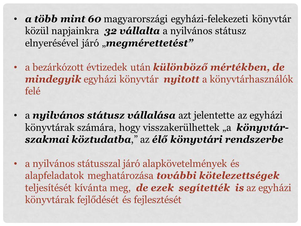 """a több mint 60 magyarországi egyházi-felekezeti könyvtár közül napjainkra 32 vállalta a nyilvános státusz elnyerésével járó """"megmérettetést"""