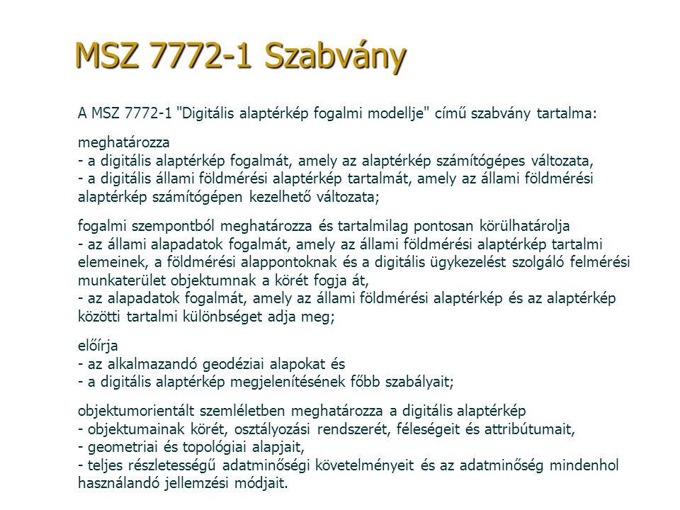 MSZ 7772-1 Szabvány A MSZ 7772-1 Digitális alaptérkép fogalmi modellje című szabvány tartalma: