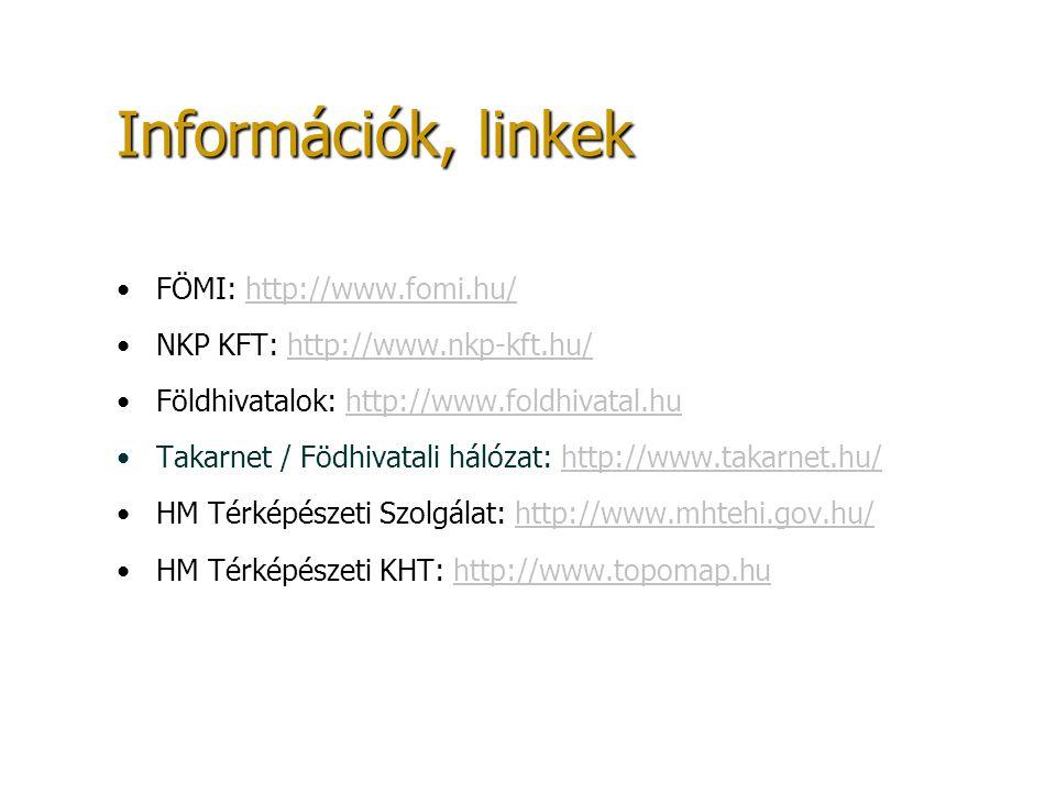 Információk, linkek FÖMI: http://www.fomi.hu/