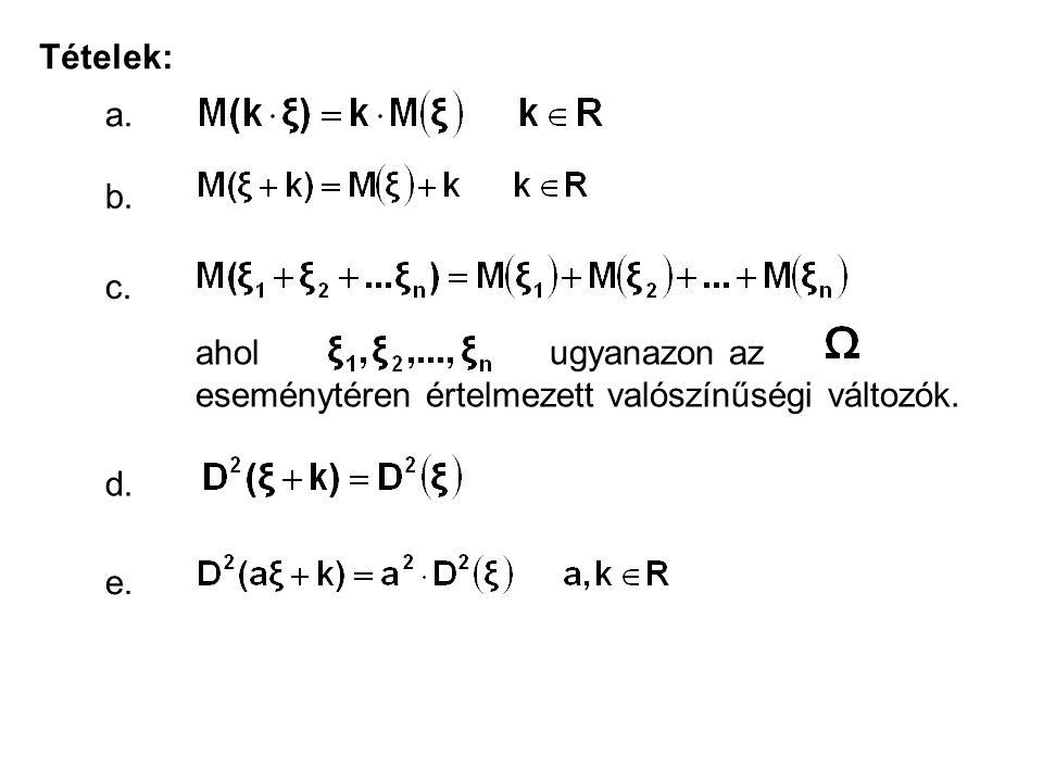 Tételek: a. b. c. ahol ugyanazon az eseménytéren értelmezett valószínűségi változók.