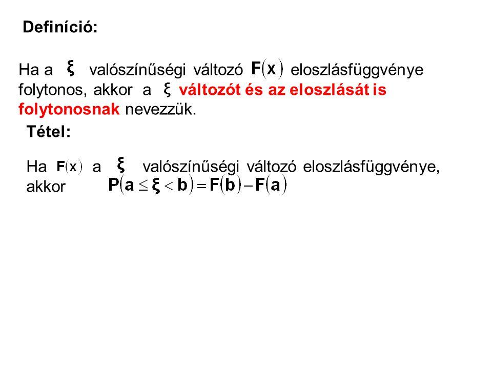 Definíció: Ha a valószínűségi változó eloszlásfüggvénye folytonos, akkor a változót és az eloszlását is folytonosnak nevezzük.