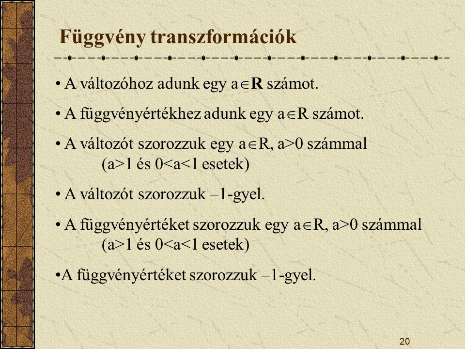 Függvény transzformációk