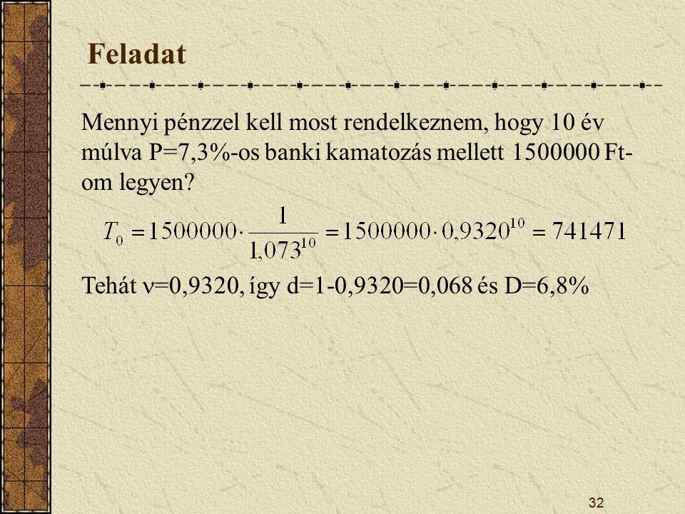 Feladat Mennyi pénzzel kell most rendelkeznem, hogy 10 év múlva P=7,3%-os banki kamatozás mellett 1500000 Ft-om legyen