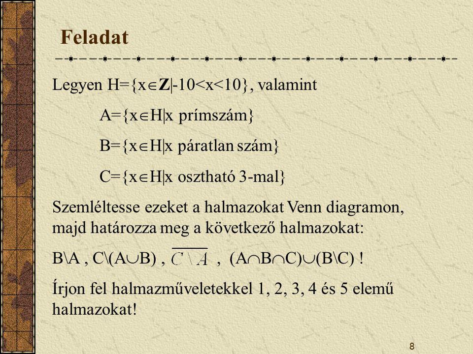 Feladat Legyen H={xZ|-10<x<10}, valamint A={xH|x prímszám}