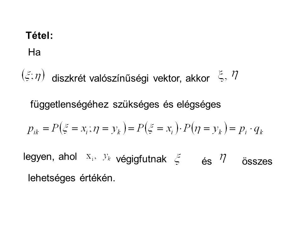 Tétel: Ha. diszkrét valószínűségi vektor, akkor. függetlenségéhez szükséges és elégséges. legyen, ahol.