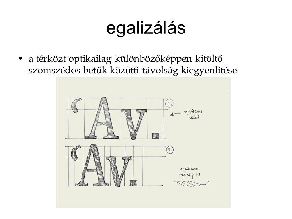 egalizálás a térközt optikailag különbözőképpen kitöltő szomszédos betűk közötti távolság kiegyenlítése.