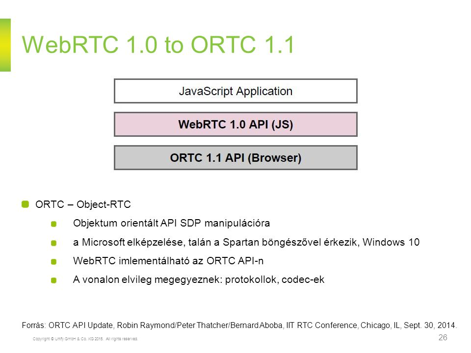 WebRTC 1.0 to ORTC 1.1 ORTC – Object-RTC