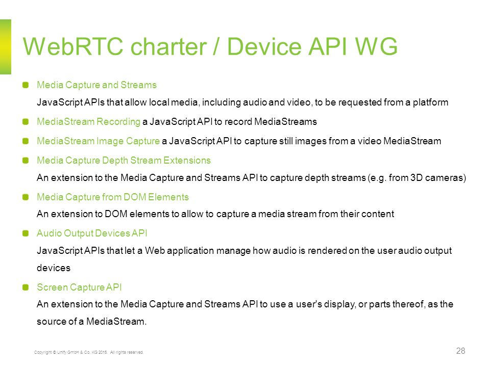 WebRTC charter / Device API WG