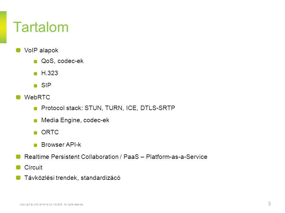 Tartalom VoIP alapok QoS, codec-ek H.323 SIP WebRTC