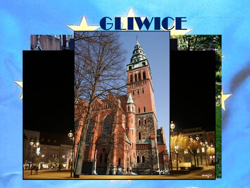 GLIWICE Várfal részlet, The Holy Family Church, City Hall, St. Bartholomew Church