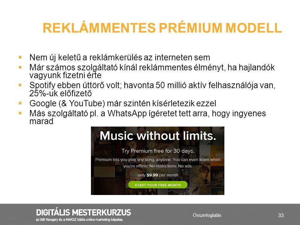 Reklámmentes prémium modell