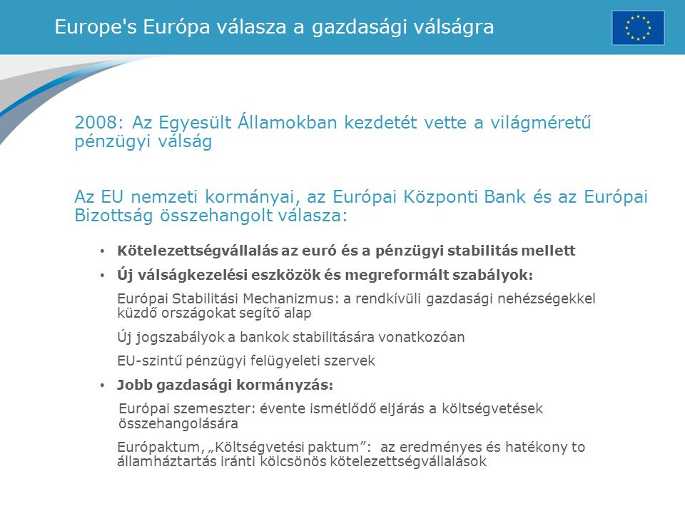 Europe s Európa válasza a gazdasági válságra