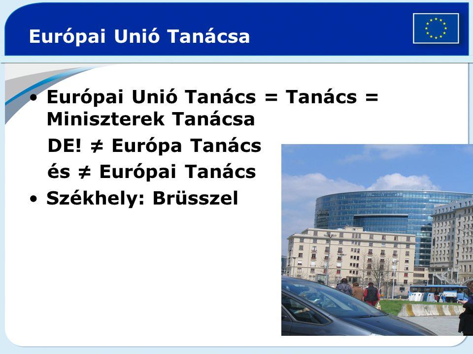 Európai Unió Tanácsa Európai Unió Tanács = Tanács = Miniszterek Tanácsa. DE! ≠ Európa Tanács. és ≠ Európai Tanács.