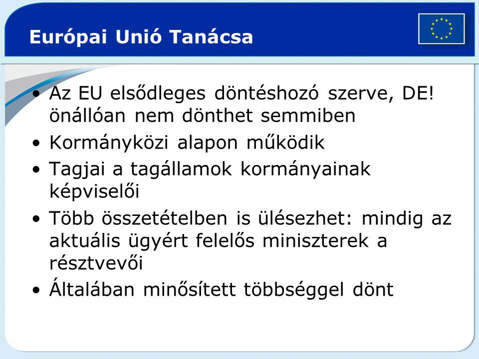 Európai Unió Tanácsa Az EU elsődleges döntéshozó szerve, DE! önállóan nem dönthet semmiben. Kormányközi alapon működik.