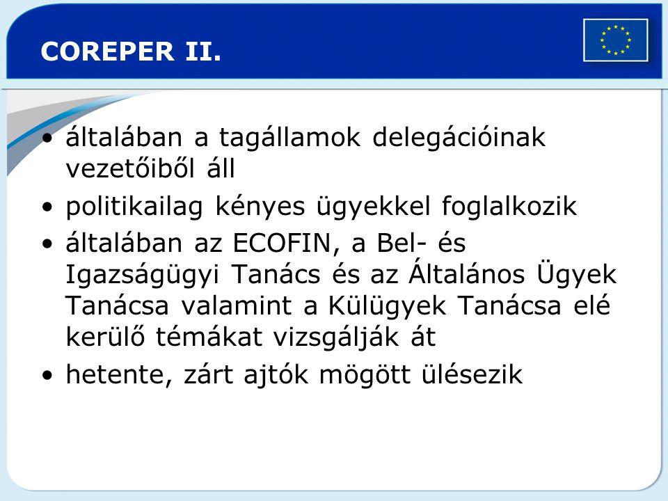 COREPER II. általában a tagállamok delegációinak vezetőiből áll. politikailag kényes ügyekkel foglalkozik.