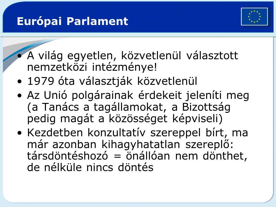 Európai Parlament A világ egyetlen, közvetlenül választott nemzetközi intézménye! 1979 óta választják közvetlenül.