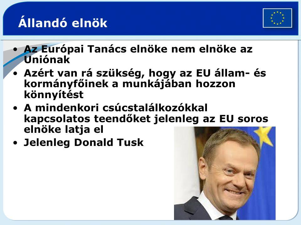 Állandó elnök Az Európai Tanács elnöke nem elnöke az Uniónak