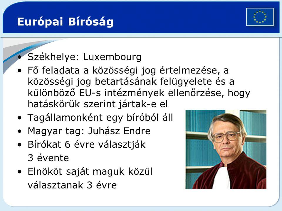 Európai Bíróság Székhelye: Luxembourg