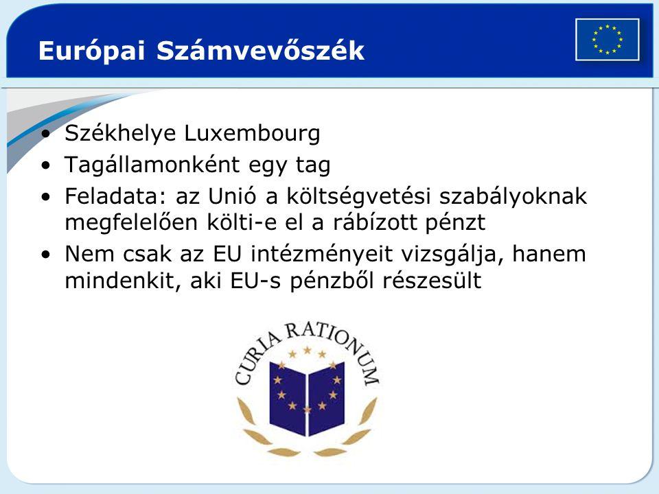 Európai Számvevőszék Székhelye Luxembourg Tagállamonként egy tag
