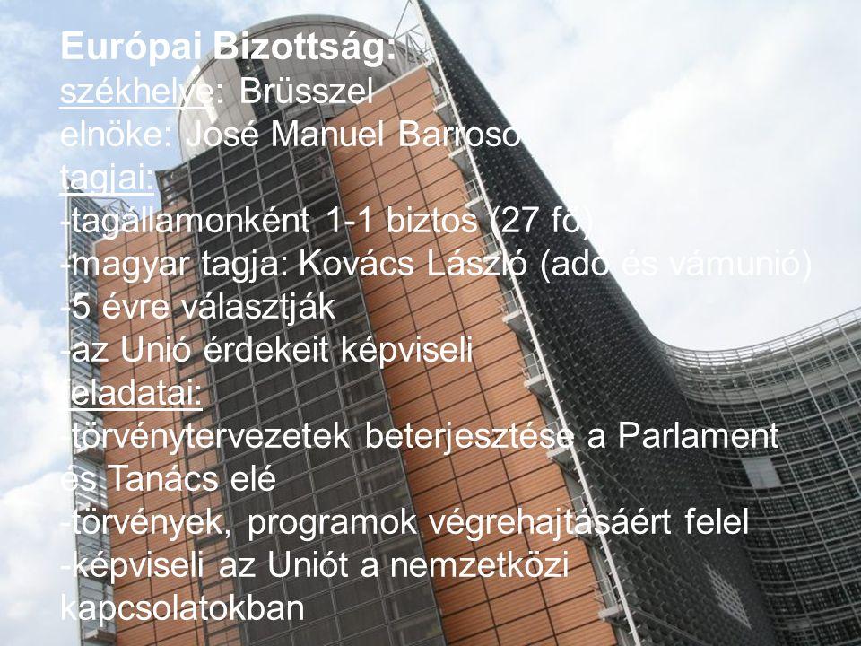 Európai Bizottság: székhelye: Brüsszel elnöke: José Manuel Barroso