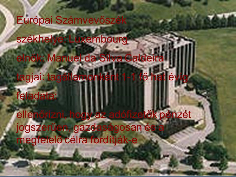 Európai Számvevőszék székhelye: Luxembourg. elnök: Manuel da Silva Caldeira. tagjai: tagállamonként 1-1 fő hat évig.