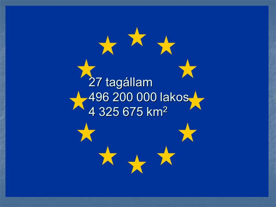 27 tagállam 496 200 000 lakos 4 325 675 km2