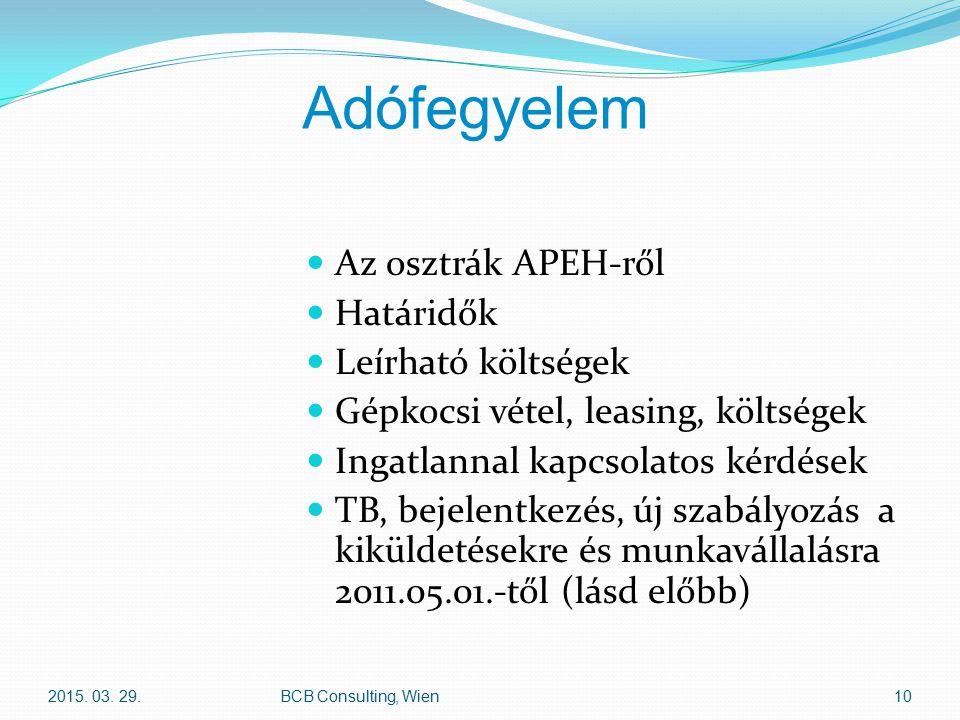 Adófegyelem Az osztrák APEH-ről Határidők Leírható költségek