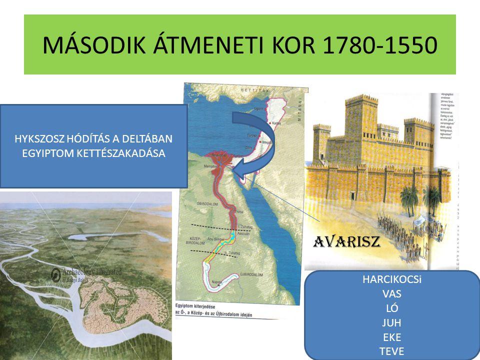 MÁSODIK ÁTMENETI KOR 1780-1550 AVARISZ HYKSZOSZ HÓDÍTÁS A DELTÁBAN