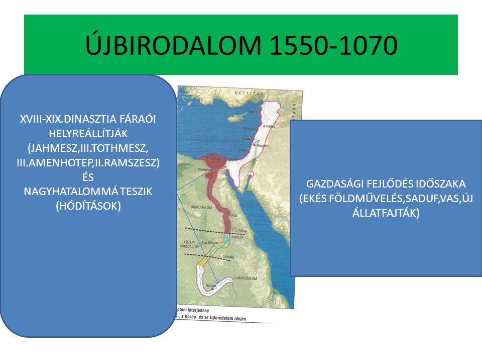 ÚJBIRODALOM 1550-1070 XVIII-XIX.DINASZTIA FÁRAÓI HELYREÁLLÍTJÁK