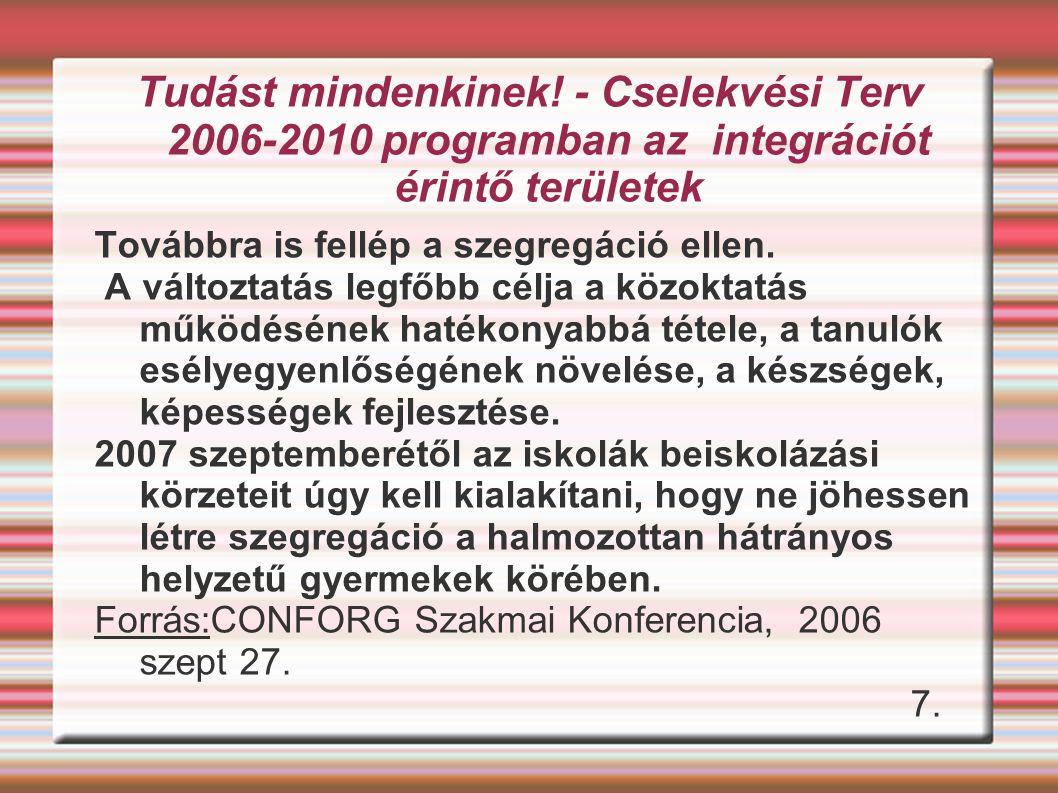 Tudást mindenkinek! - Cselekvési Terv 2006-2010 programban az integrációt érintő területek
