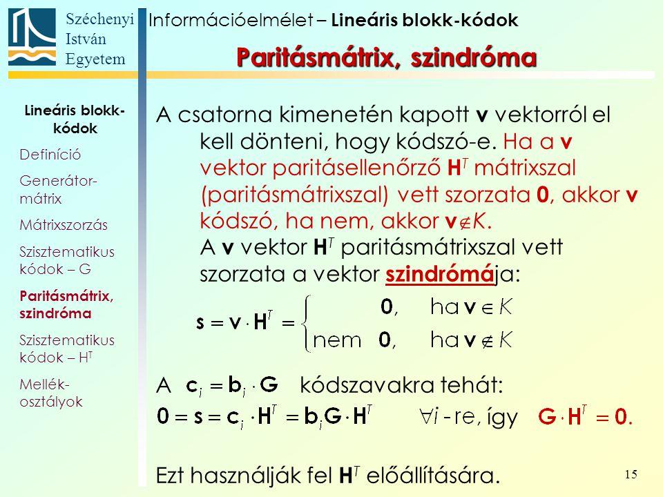 Paritásmátrix, szindróma
