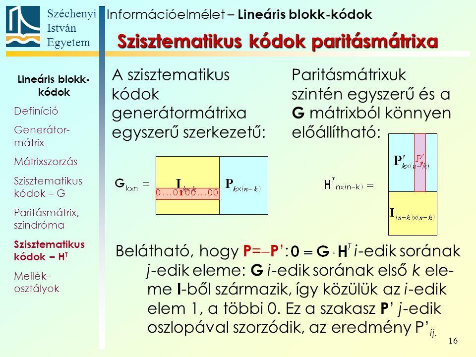 Szisztematikus kódok paritásmátrixa