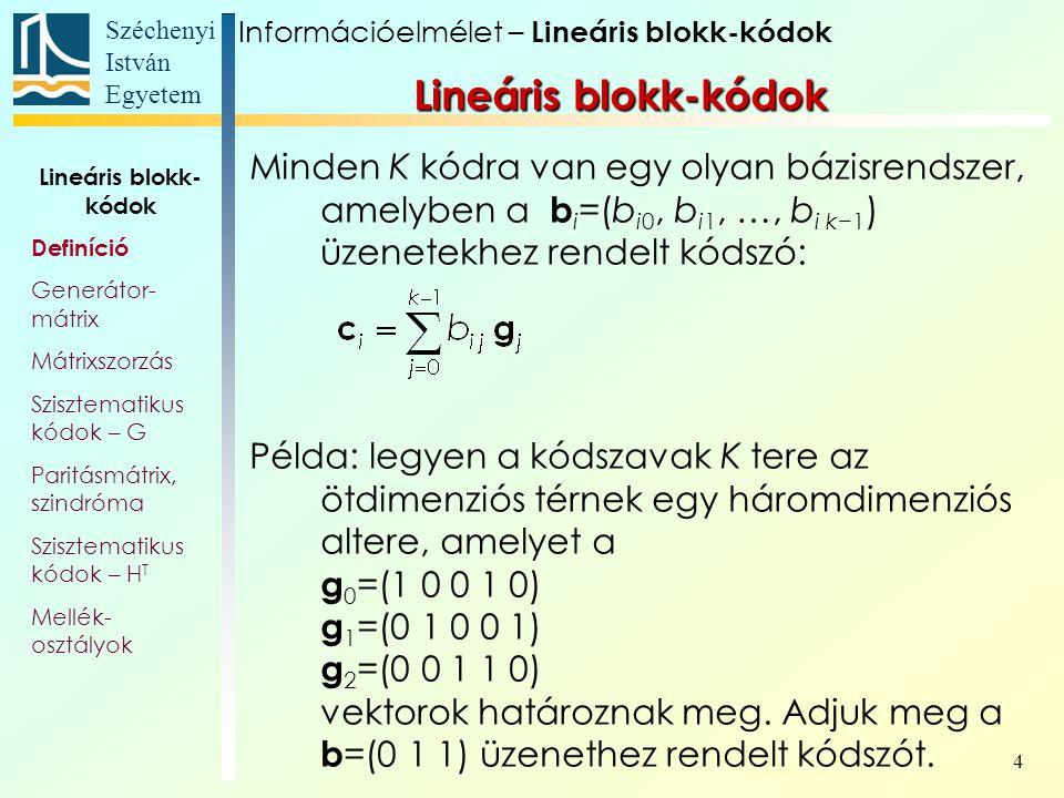 Információelmélet – Lineáris blokk-kódok