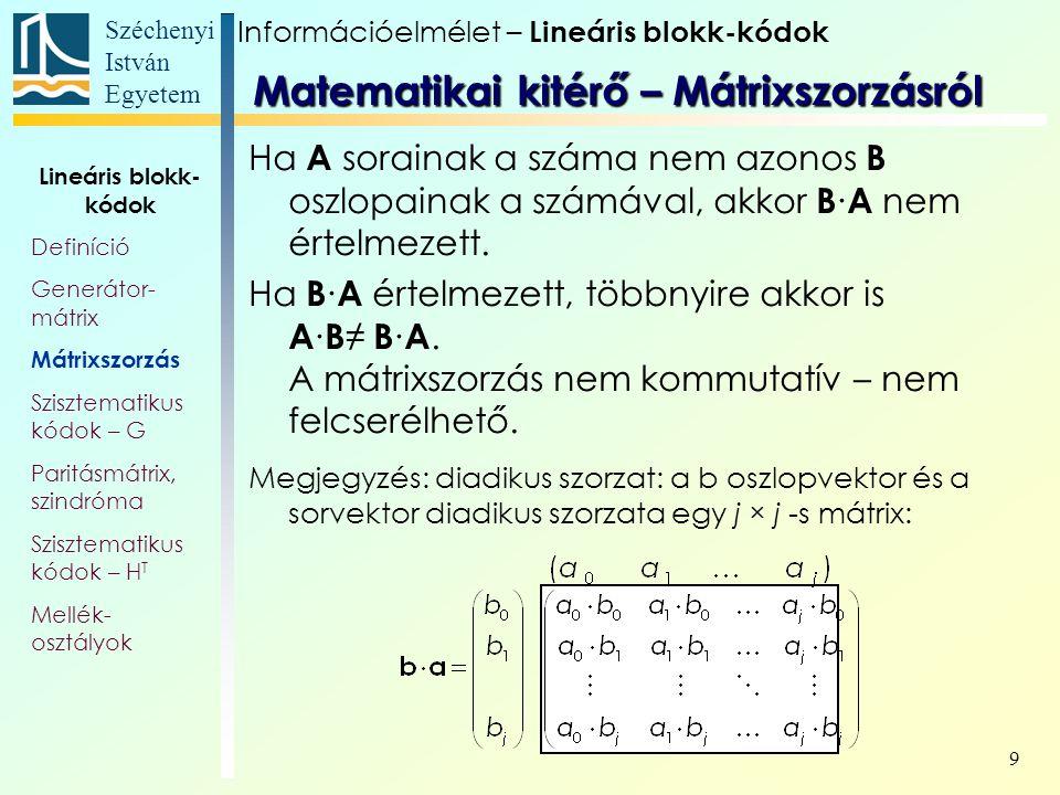 Matematikai kitérő – Mátrixszorzásról