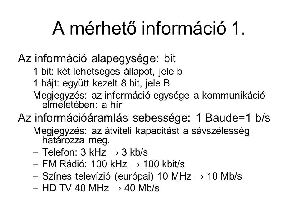 A mérhető információ 1. Az információ alapegysége: bit