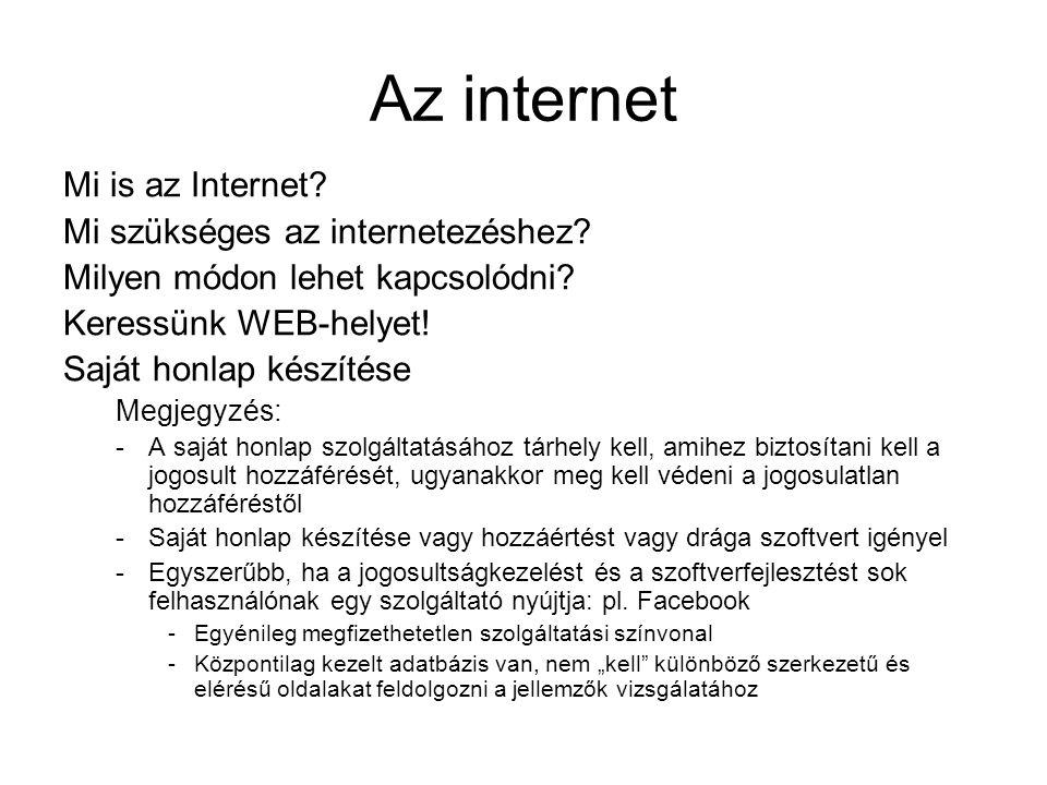 Az internet Mi is az Internet Mi szükséges az internetezéshez